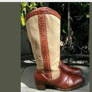 Womens Brown FRYE 77225 Jane Braid Cowboy Western